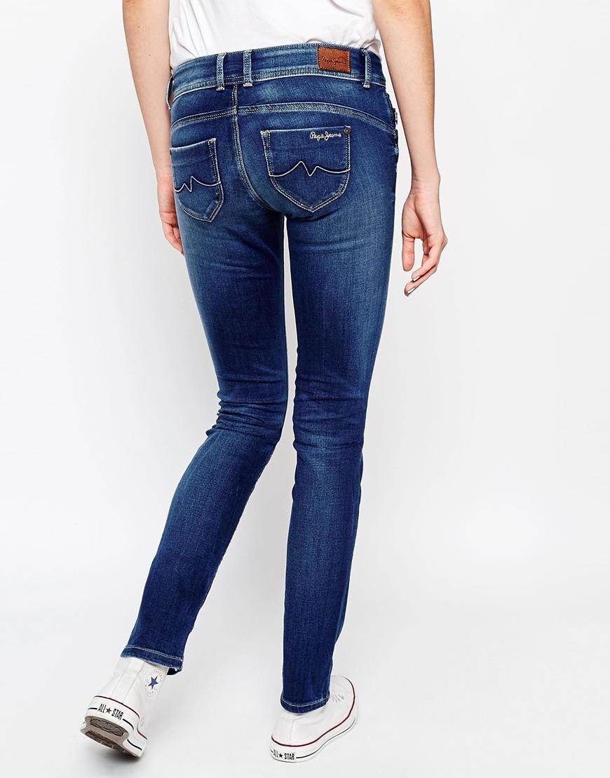 lyst pepe jeans new brooke slim jeans in blue. Black Bedroom Furniture Sets. Home Design Ideas