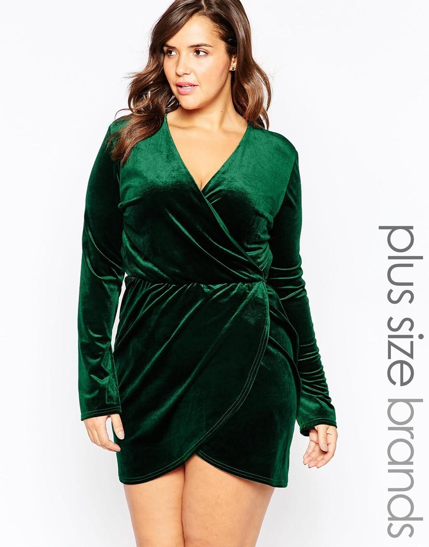 Lyst Club L Plus Size Aysemmetric Wrap Dress In Velvet