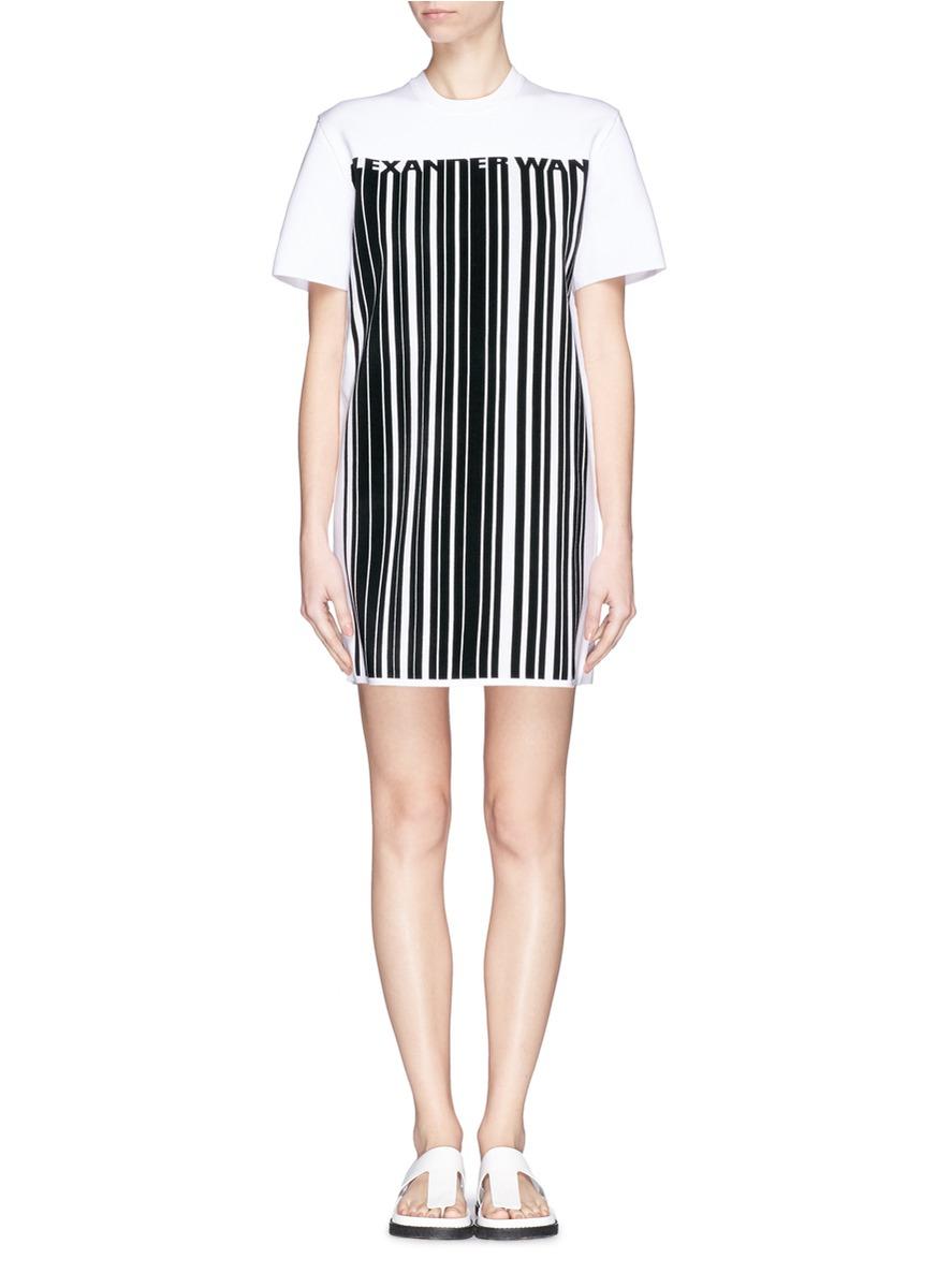 Lyst alexander wang barcode logo bonded knit t shirt dress for Logo t shirt dress