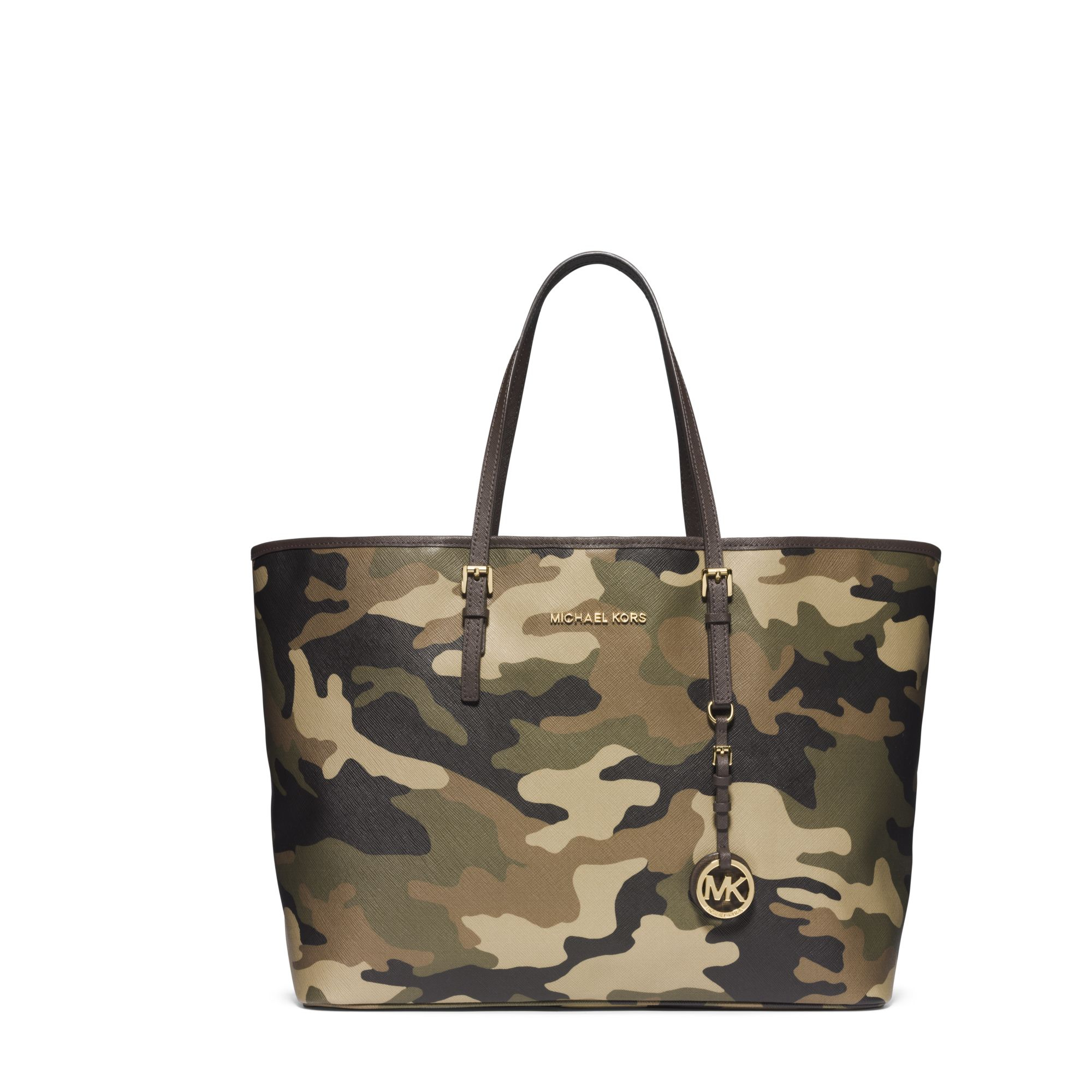 michael kors jet set travel camouflage saffiano leather medium tote in green lyst. Black Bedroom Furniture Sets. Home Design Ideas