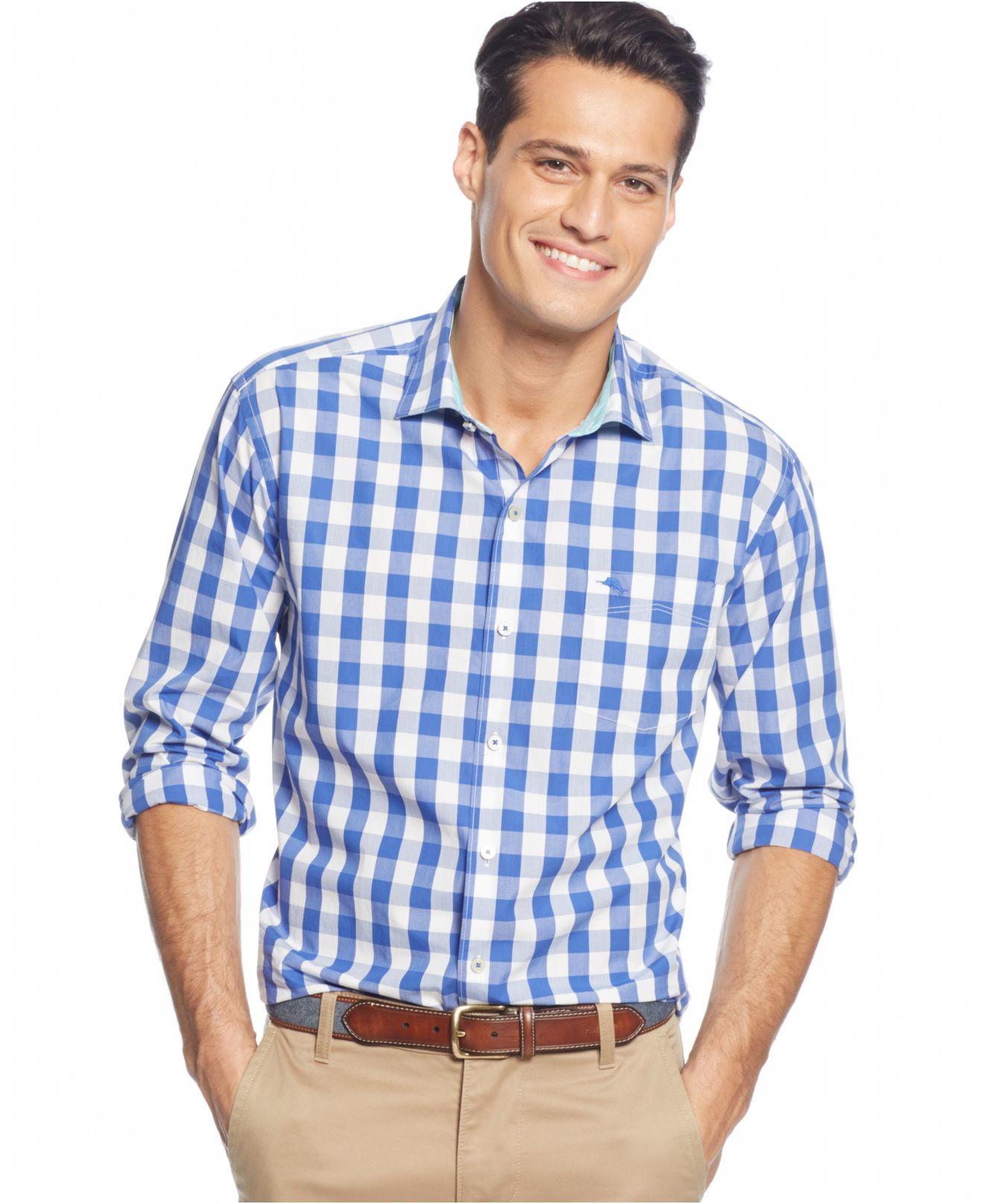 Lyst tommy bahama paradise island gingham shirt in blue for Mens blue gingham shirt