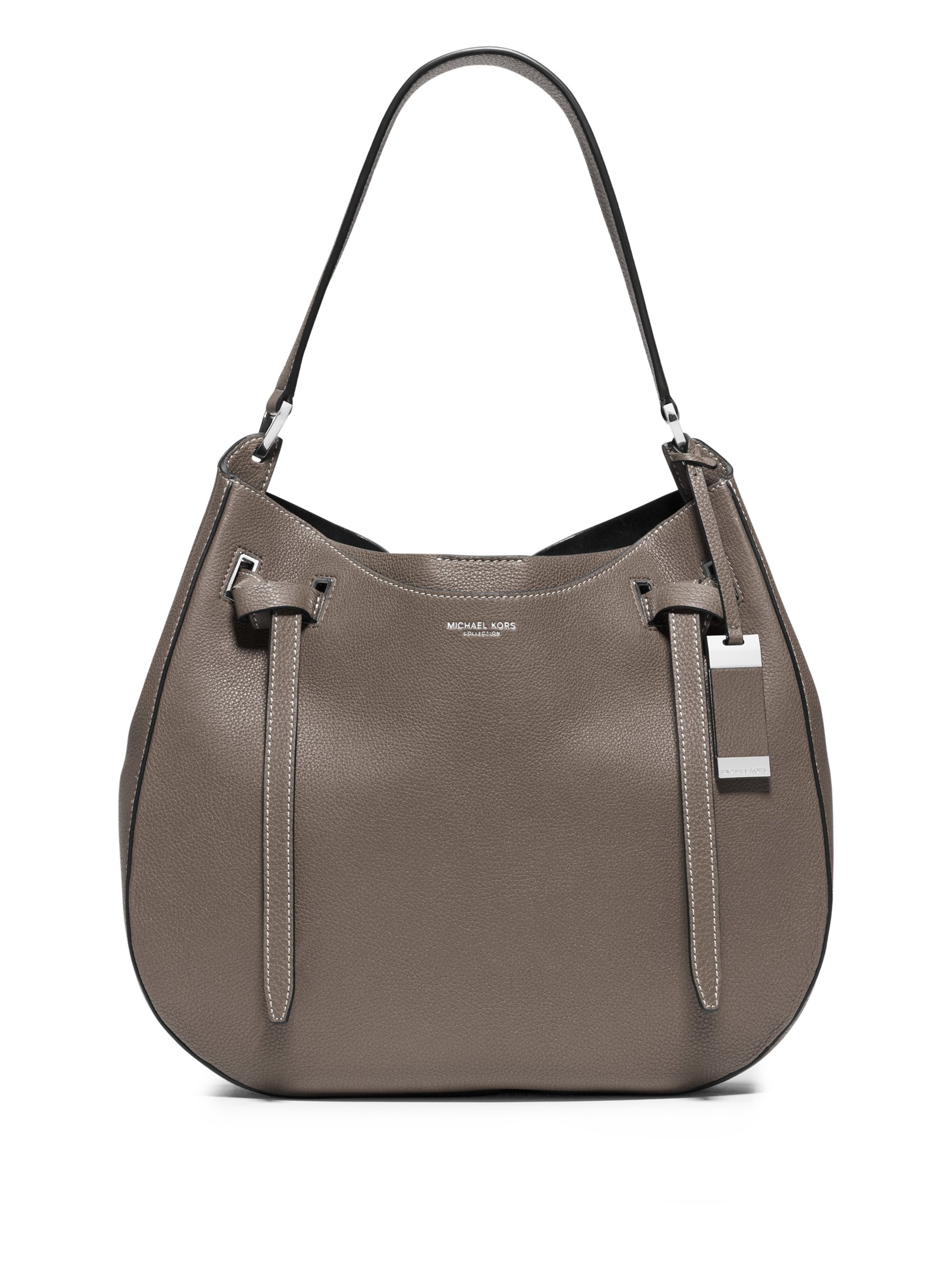 michael kors rogers tie large hobo bag in gray elephant lyst. Black Bedroom Furniture Sets. Home Design Ideas