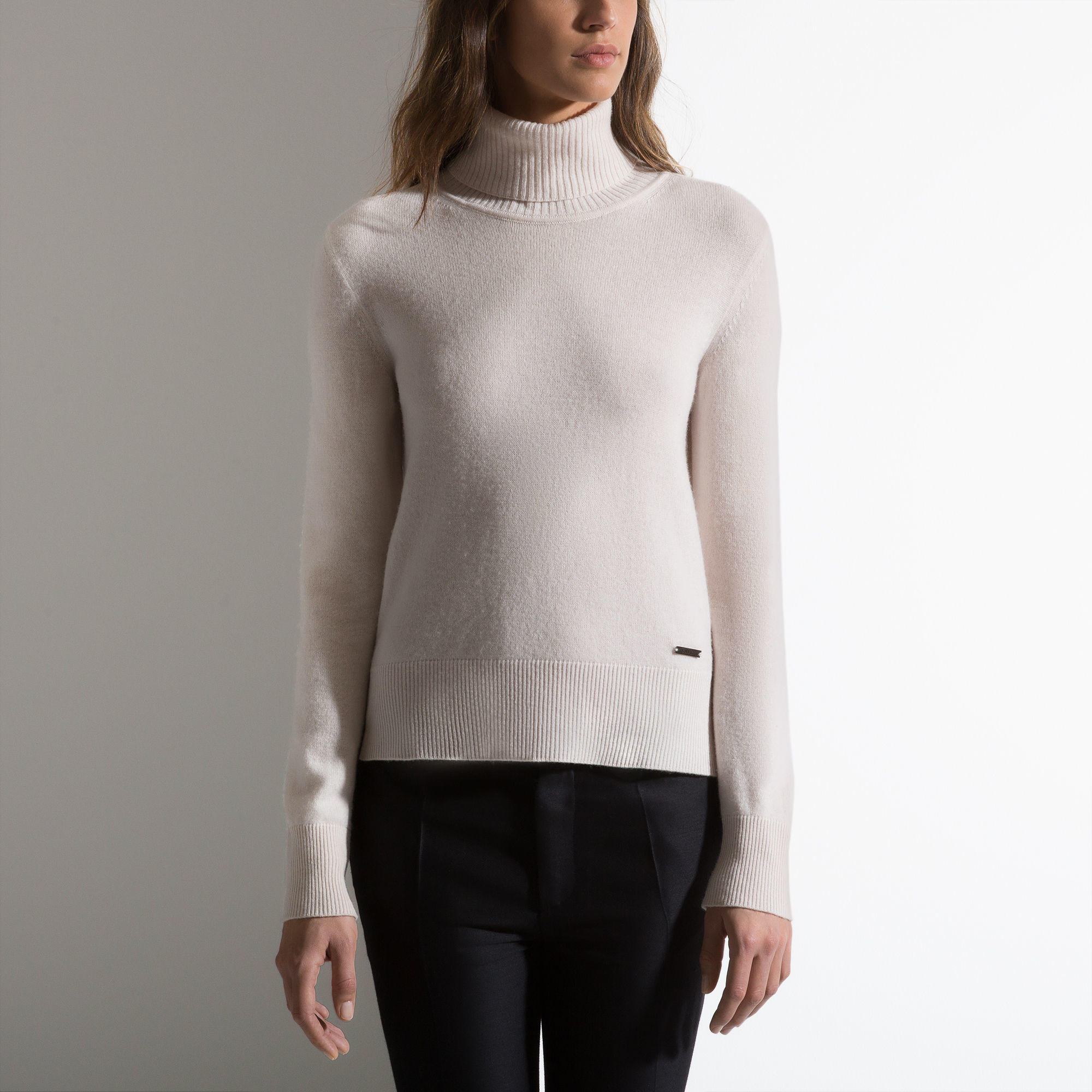 Wool Polo Neck White, Mens wool polo neck in Bone Bally