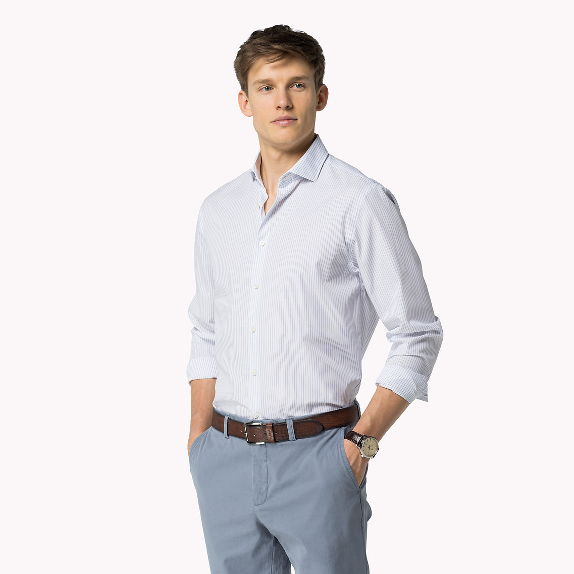 tommy hilfiger cotton regular fit shirt in white for men classic white shirt blue lyst. Black Bedroom Furniture Sets. Home Design Ideas