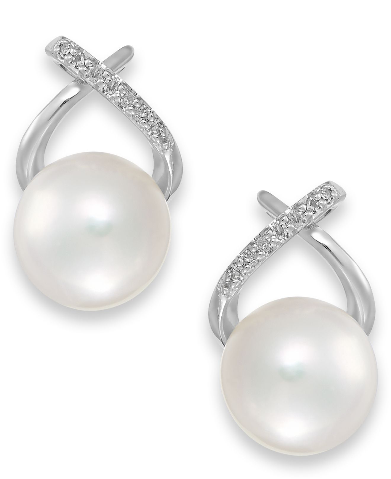 macy s pearl earrings lyst macy s cultured freshwater pearl 8mm and 8880
