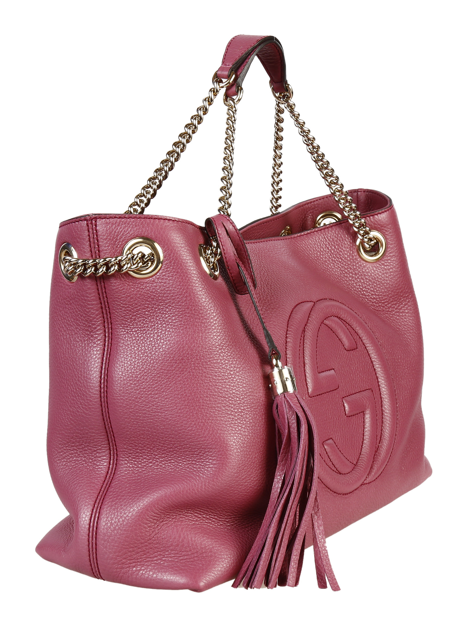 gucci soho leather medium shoulder bag in pink dusty rose lyst. Black Bedroom Furniture Sets. Home Design Ideas