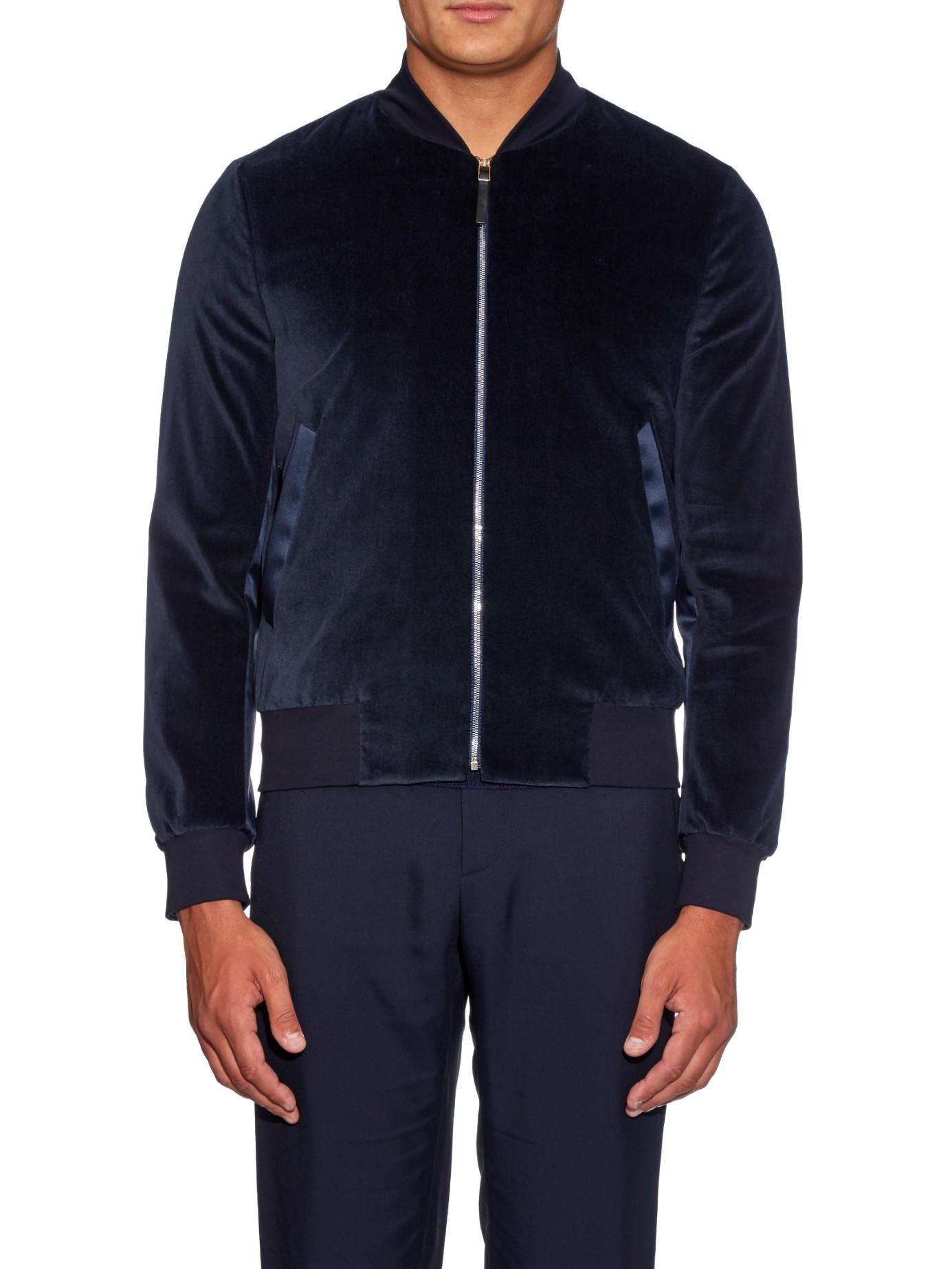 Paul smith Velvet Bomber Jacket in Blue for Men | Lyst