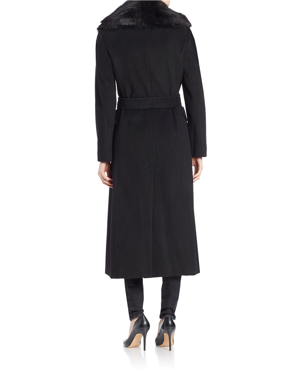 Calvin Klein Faux Fur Collar Wool Blend Maxi Coat In Black