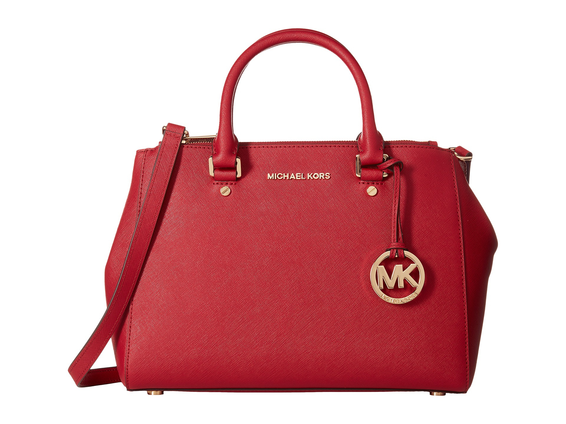d668f4648b0c ... Leather Cross Michael michael kors Sutton Medium Satchel in Red Lyst  Michael Kors Bags ...