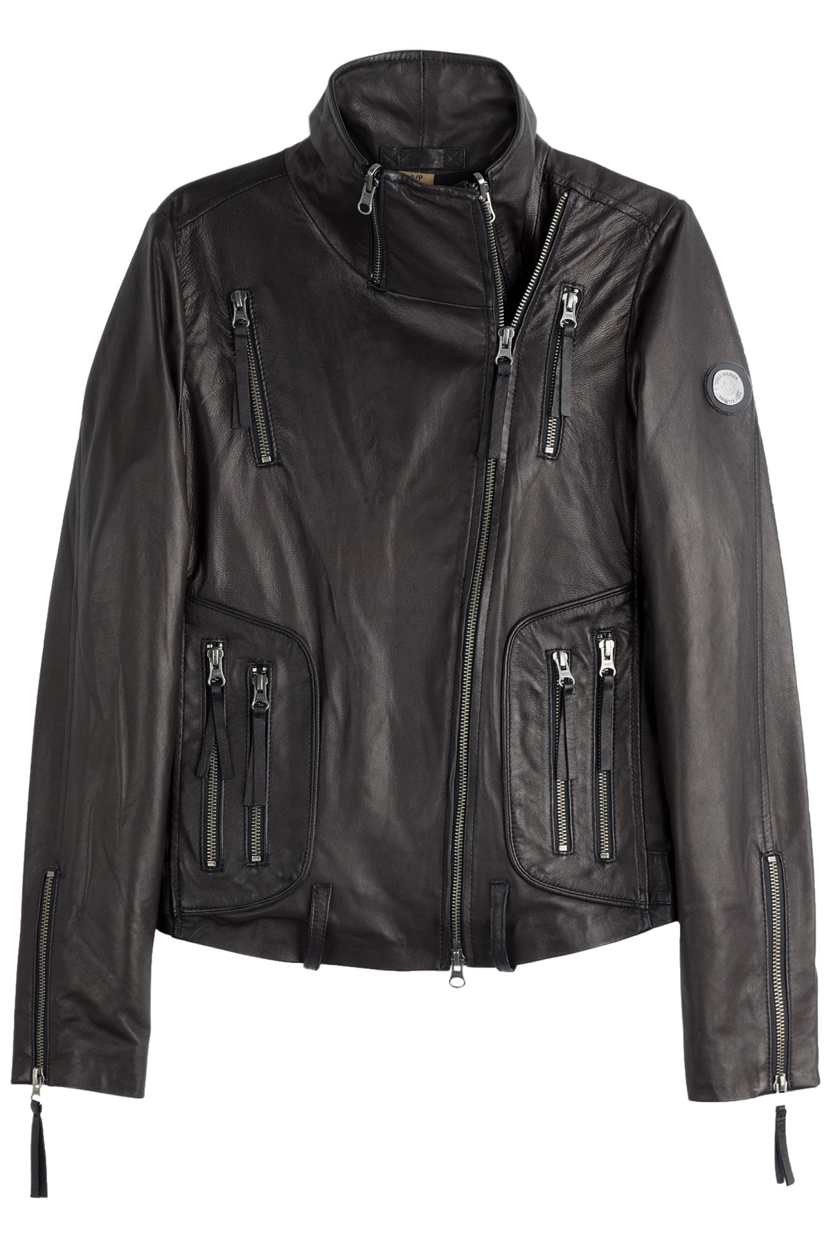 true religion leather biker jacket black in black lyst. Black Bedroom Furniture Sets. Home Design Ideas