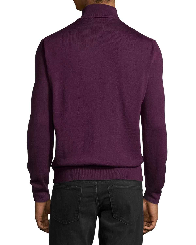 Neiman marcus Wool-Blend Half-Zip Mock Turtleneck Sweater in ...