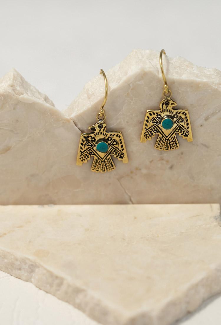 Forever 21 emerald duv thunderbird earrings in blue lyst for Forever 21 jewelry earrings