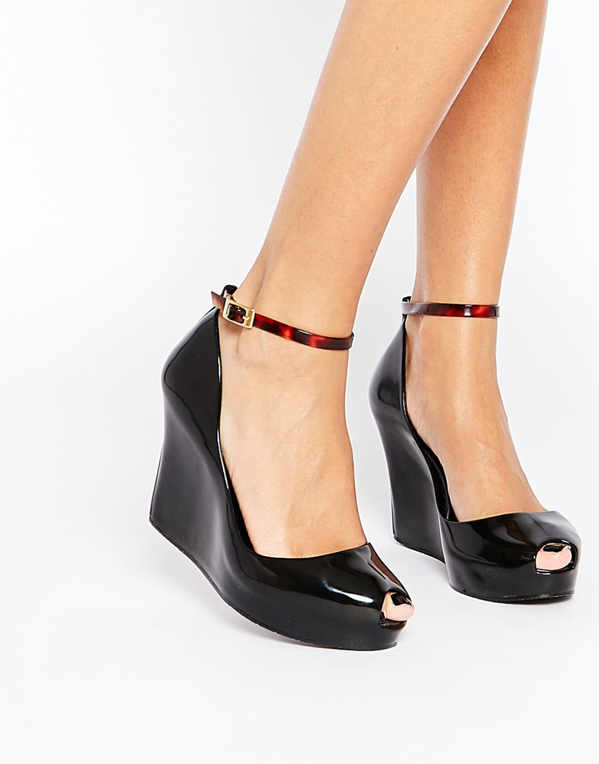 Lyst - Melissa Patchuli Peep Toe Wedge Shoes in Black 1fa84134bbc8