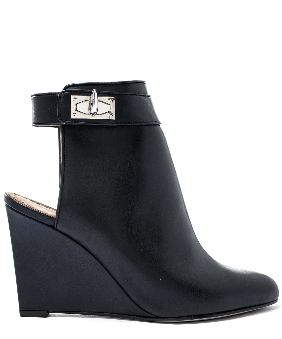 givenchy black shark lock open heel leather boots in black