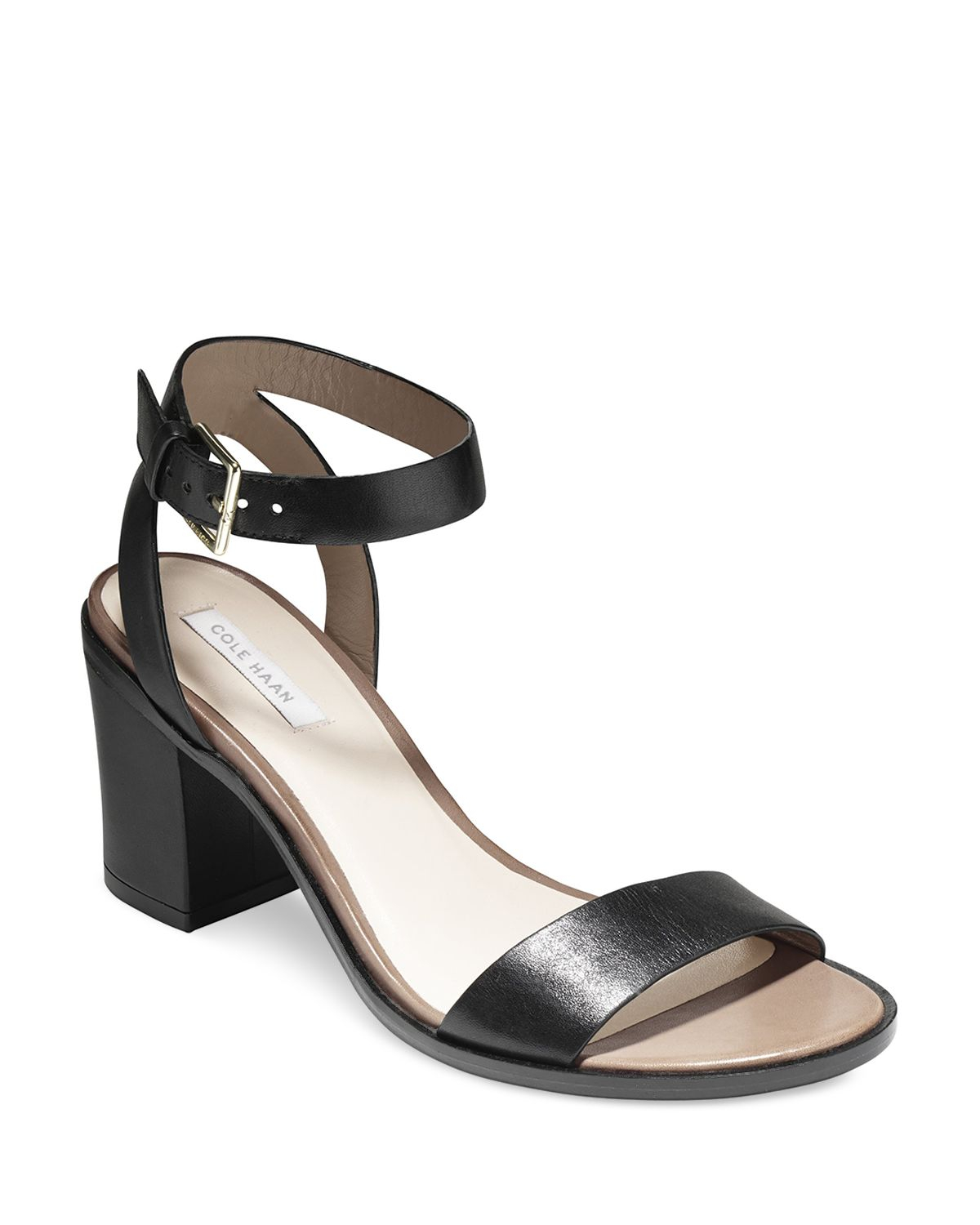 Cole haan Ankle Strap Sandals - Cambon City Mid Heel in Black | Lyst