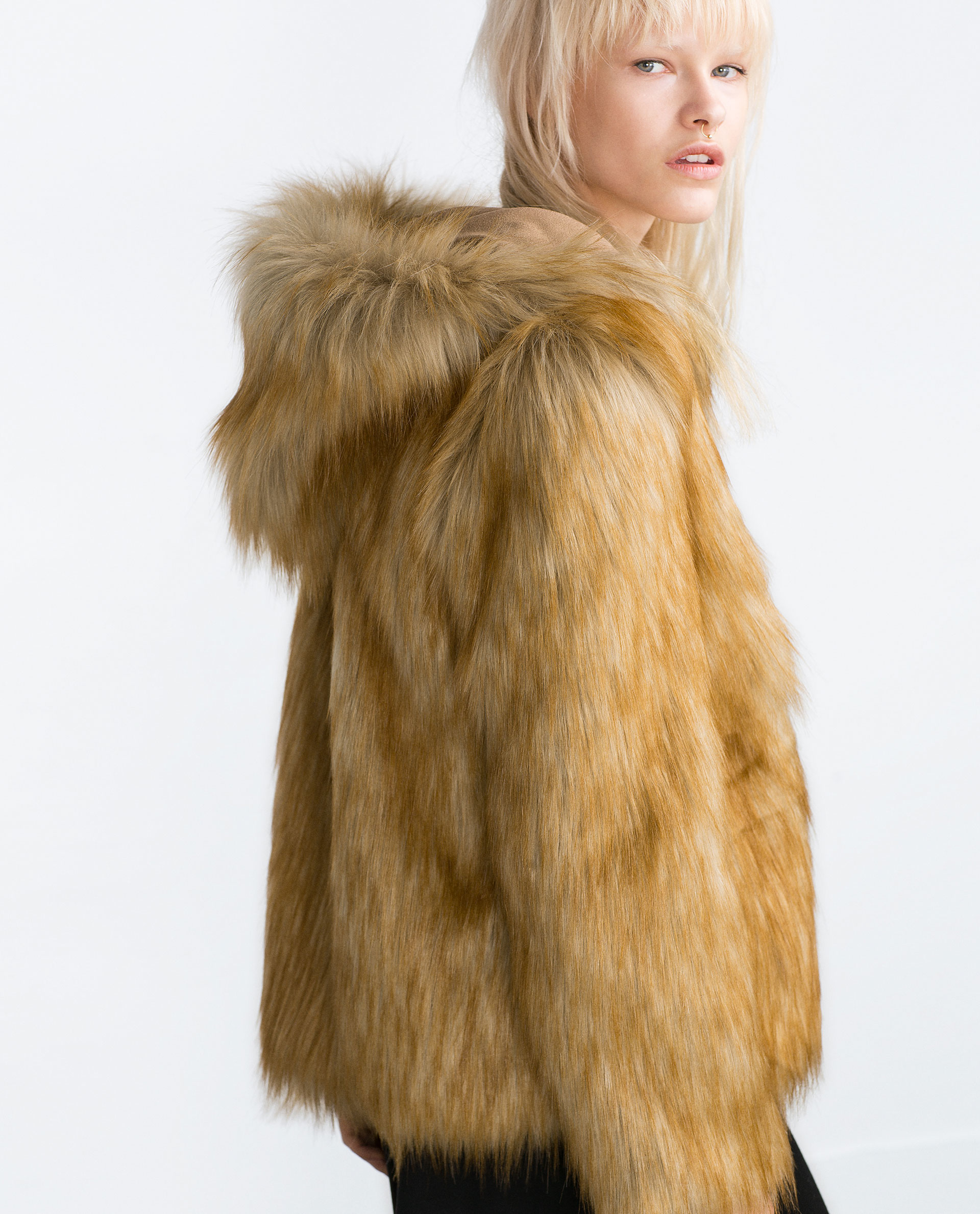 Zara Jacket With Faux Fur Hood in Brown | Lyst