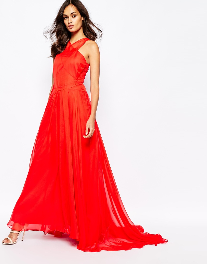 70f94862d13be Fame & Partners Drama Queen Maxi Dress With Open Back in Red - Lyst