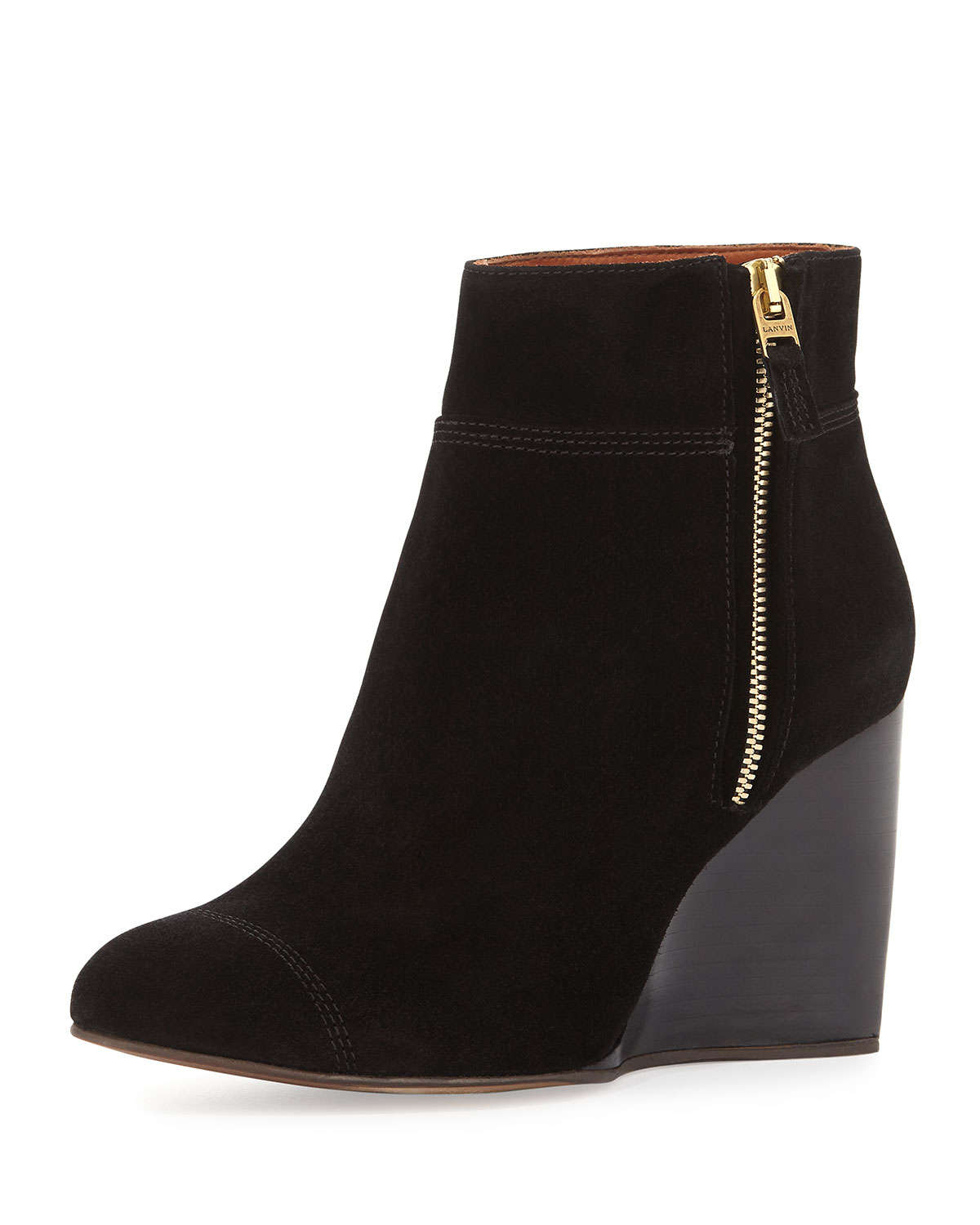 Lanvin Suede Wedge Ankle Boot in Black | Lyst