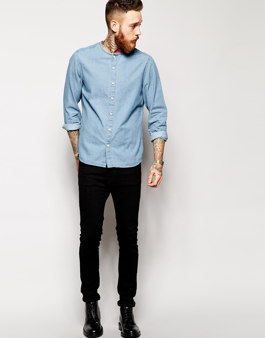 Asos Denim Shirt In Long Sleeve With Collarless Neck Detail in ...