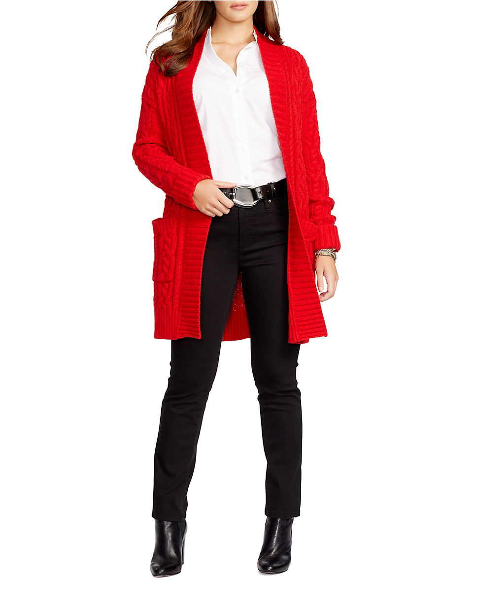 Lauren by ralph lauren Plus Cable-knit Open-front Cardigan in Red ...