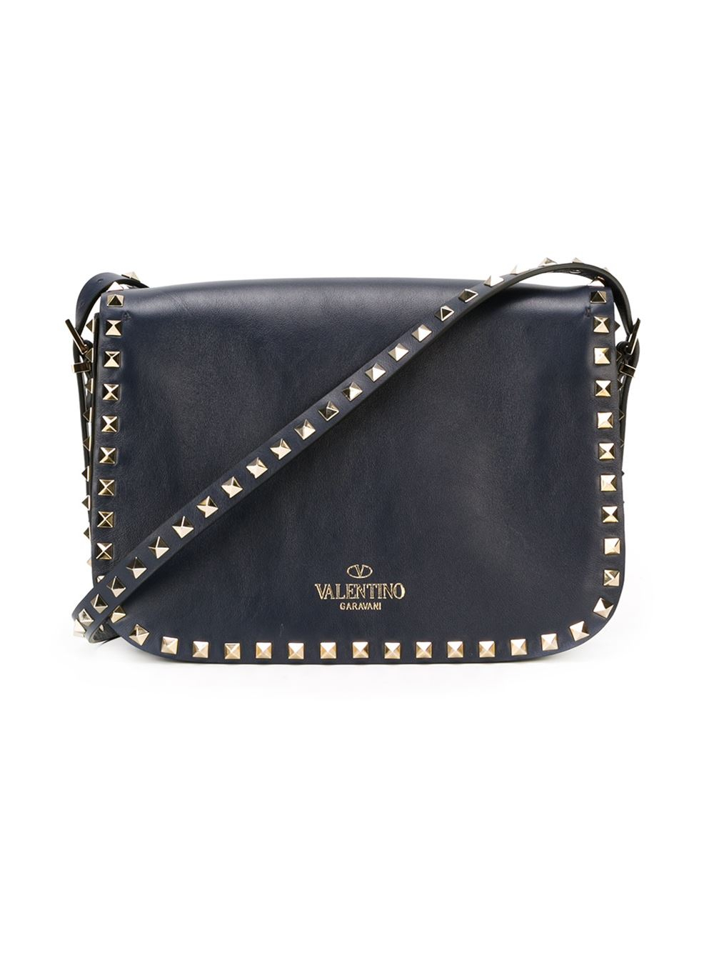 valentino rockstud leather shoulder bag in blue lyst. Black Bedroom Furniture Sets. Home Design Ideas