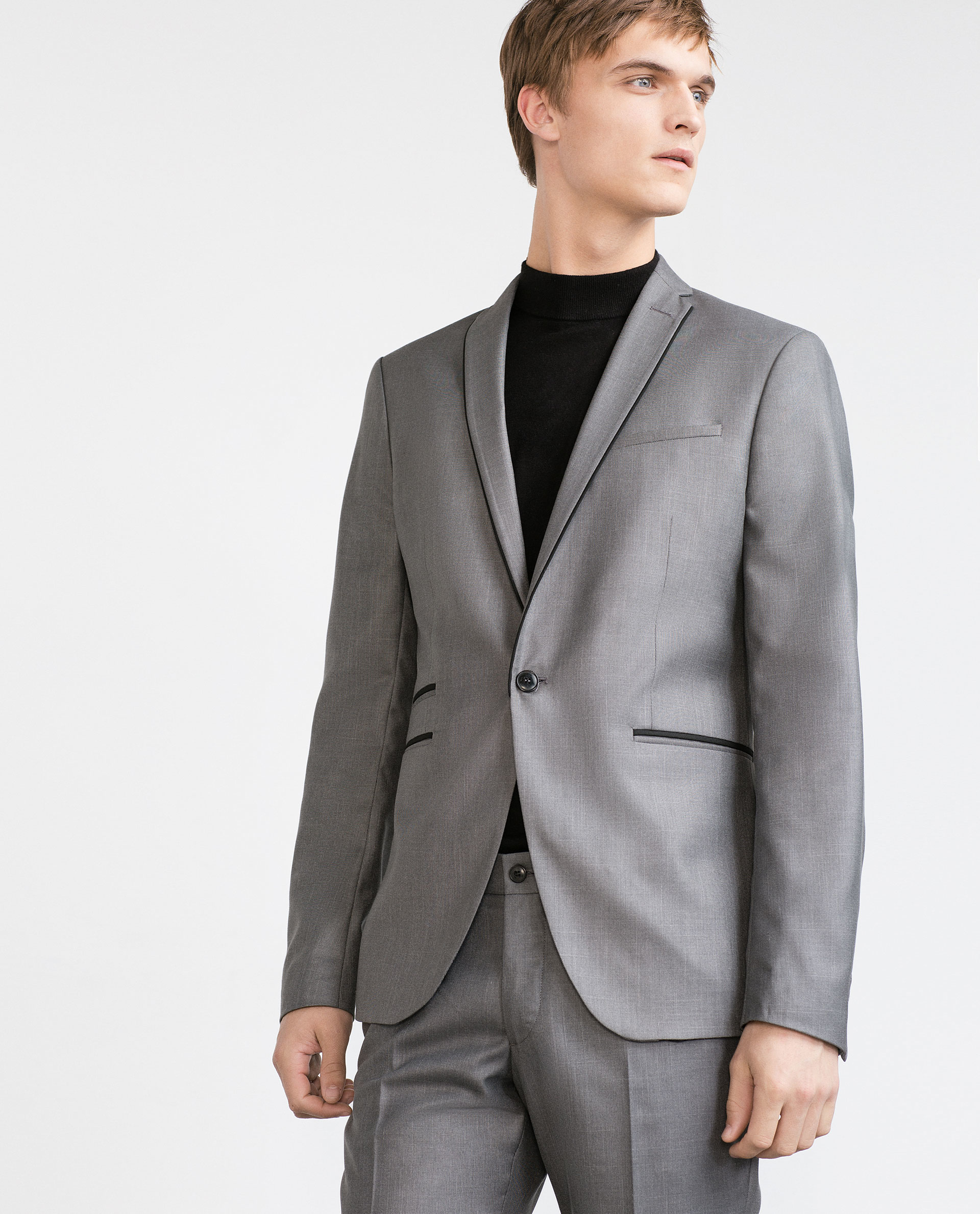 Grey Suit With Black Piping Dress Yy