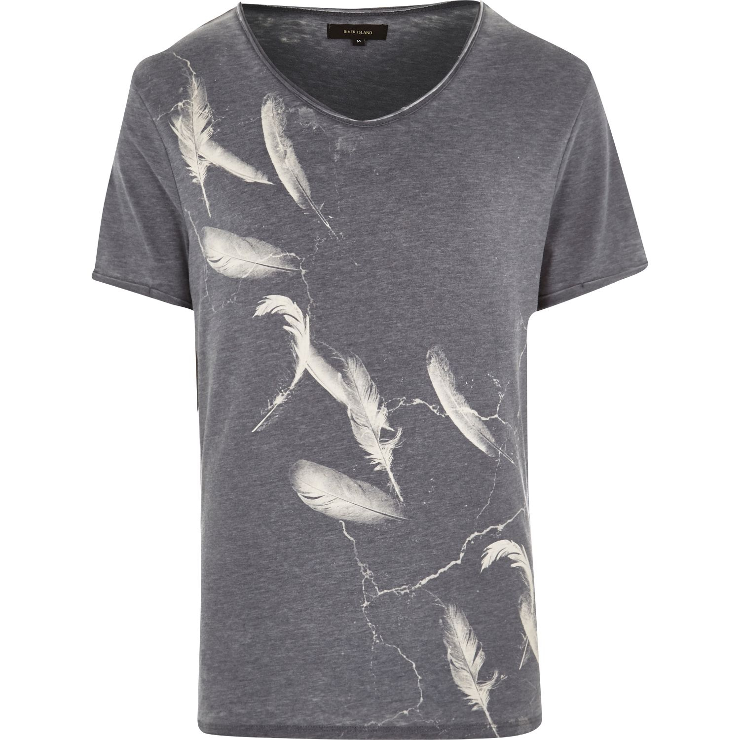River Island Grey Feather Print Low Scoop Neck T Shirt In