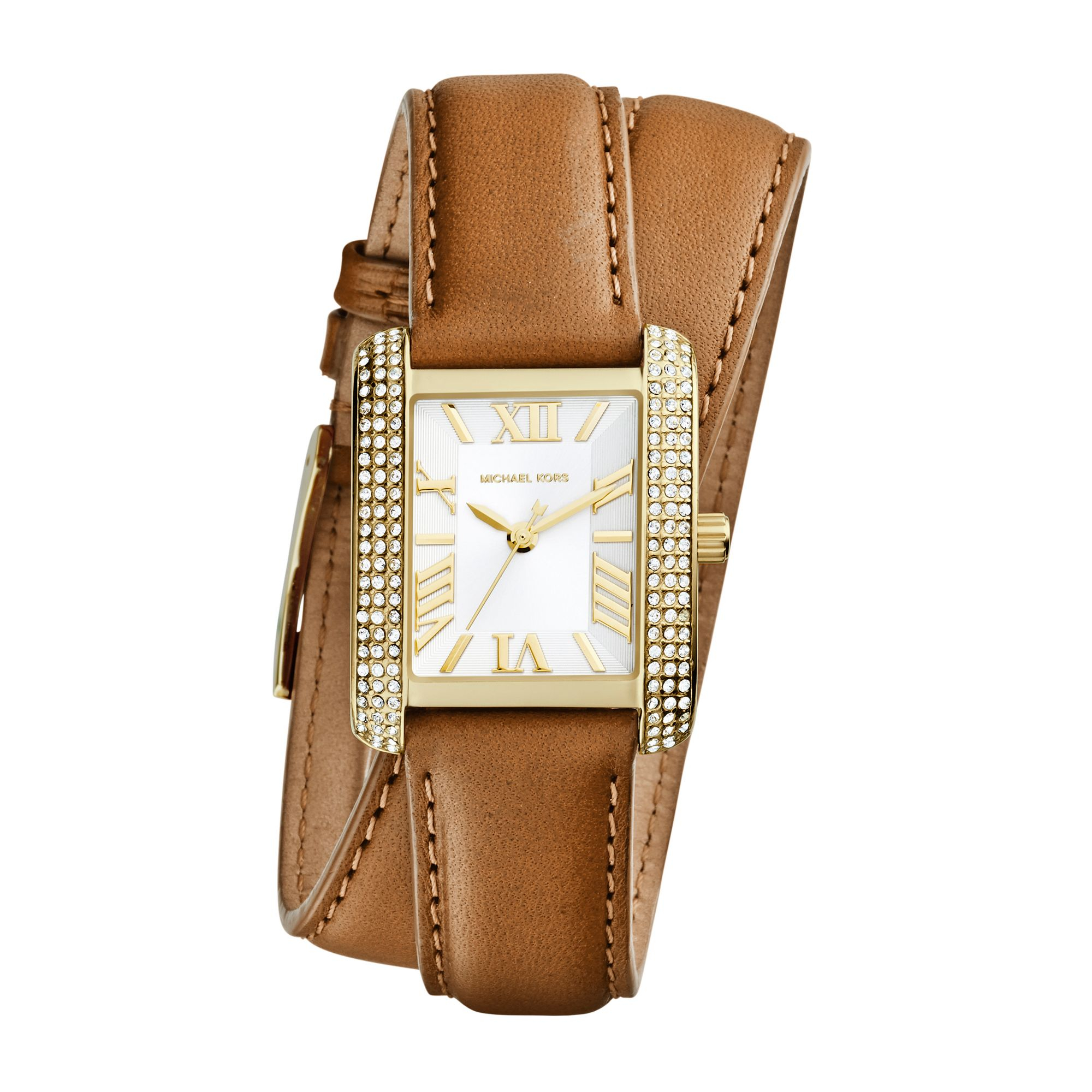 63e8c62513 Lyst - Michael Kors Mini Emery Double-wrap Leather Watch .