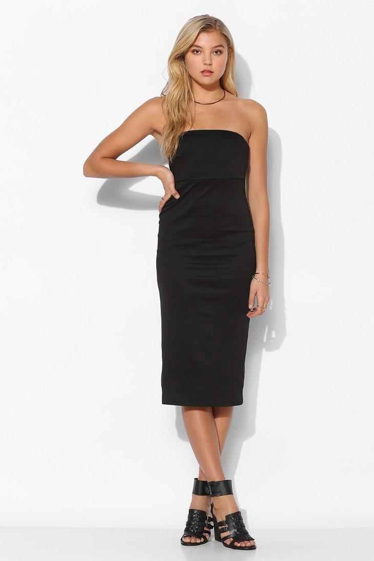 Lyst Sparkle Amp Fade Strapless Knit Midi Dress In Black