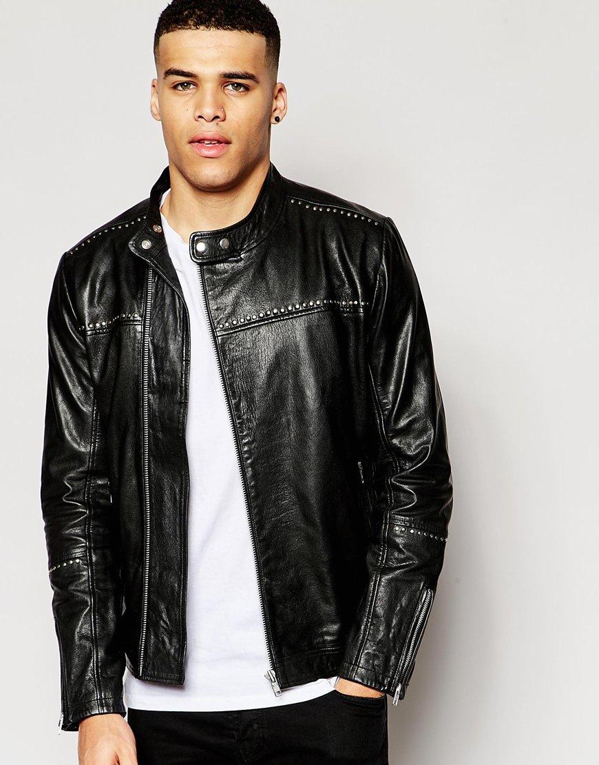 Asos Mens Leather Asymetrical Biker Stone - Coats & Outerwear