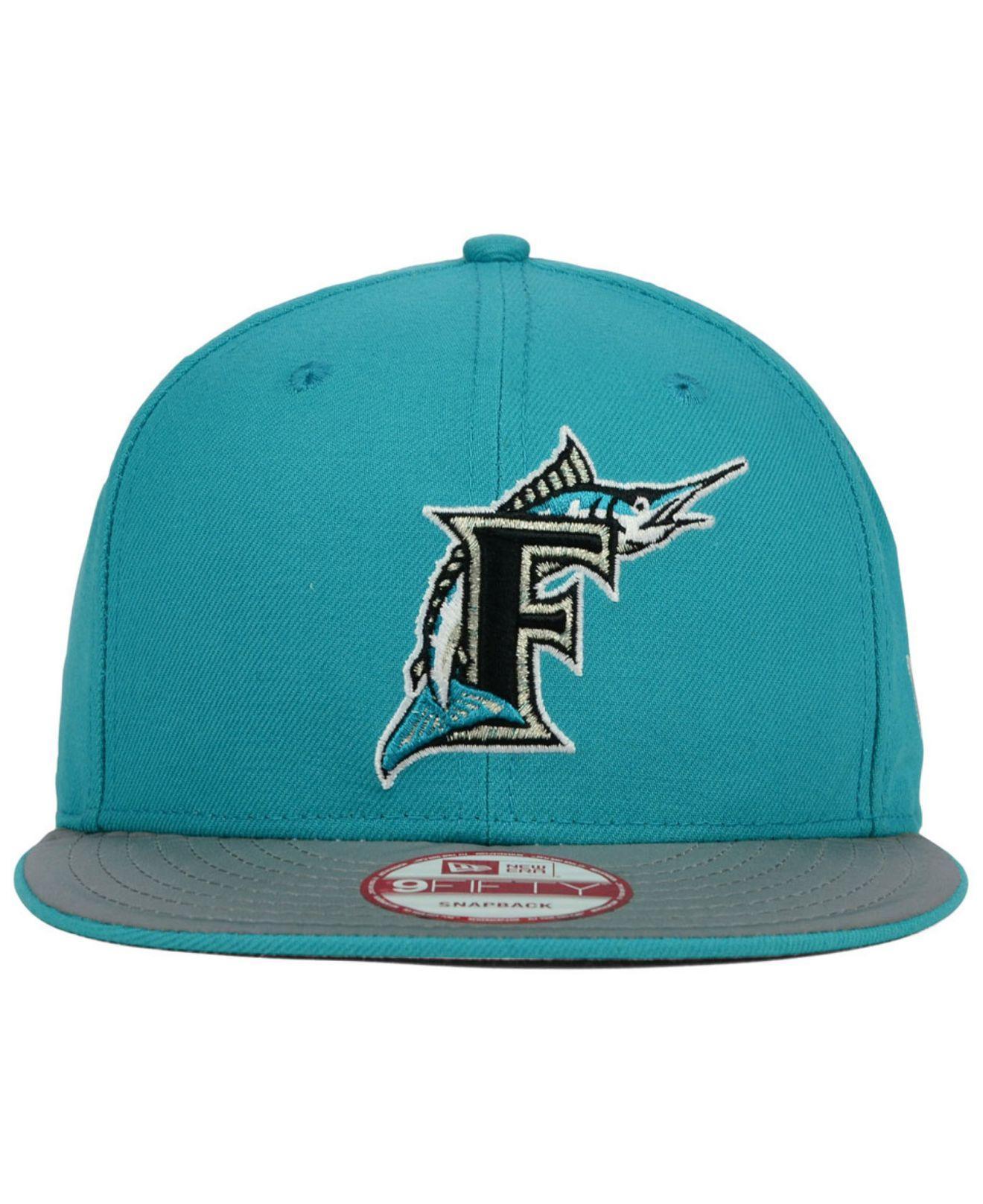 reputable site 932bb 43697 Lyst - KTZ Florida Marlins Team Reflect 9fifty Snapback Cap in Blue ...