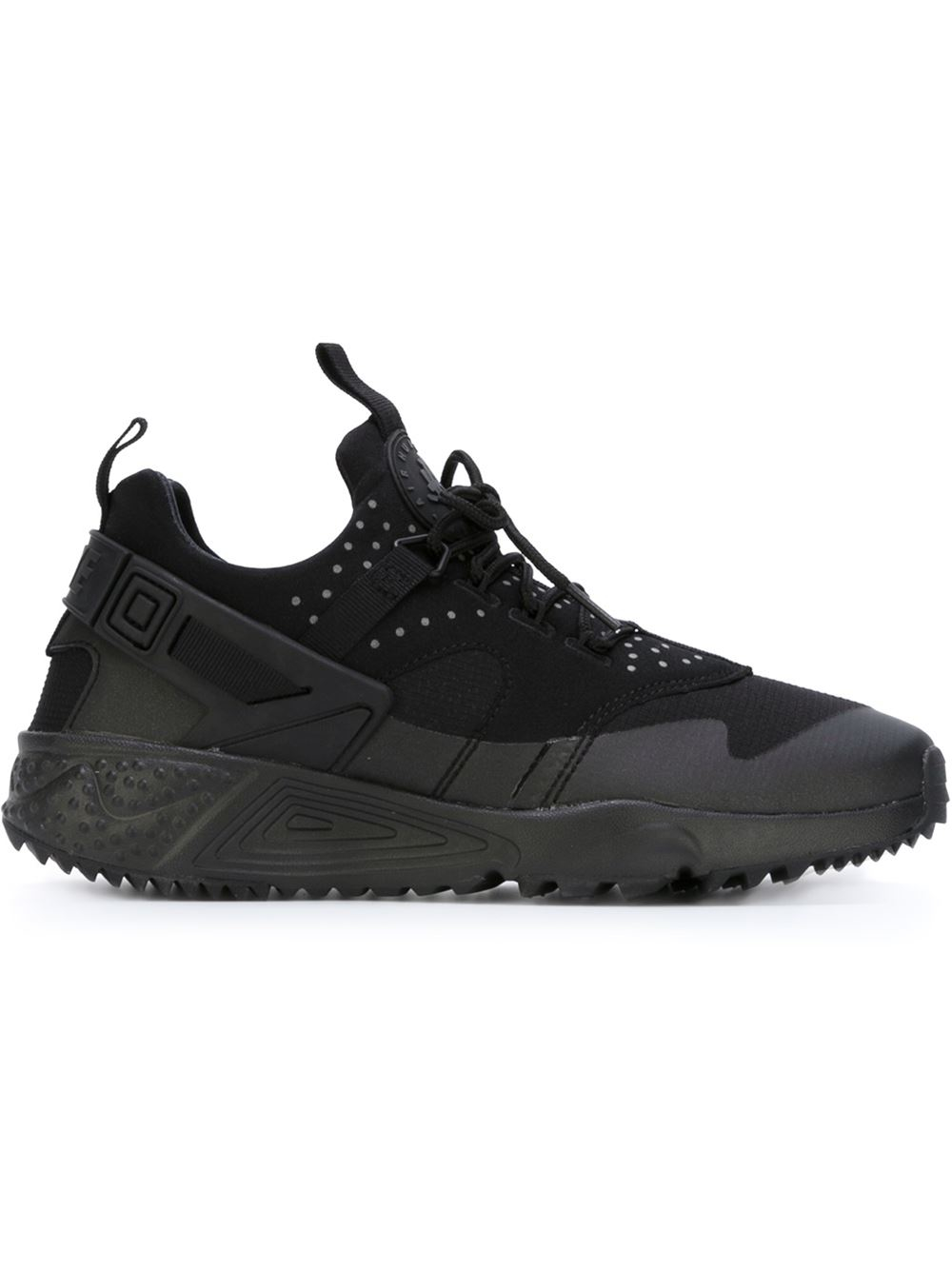 nike air huarache utility sneakers in black lyst