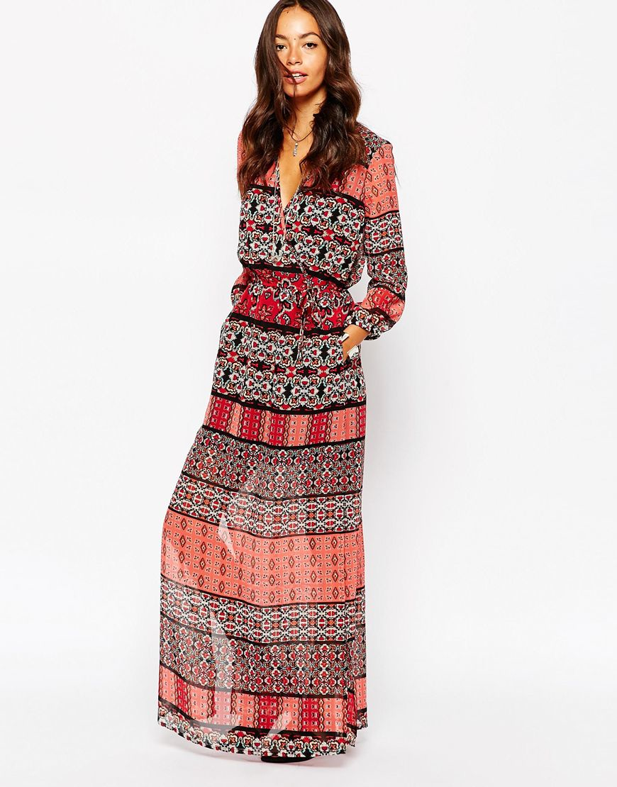 Lyst Band Of Gypsies Wrap Maxi Dress In Boho Patched Print