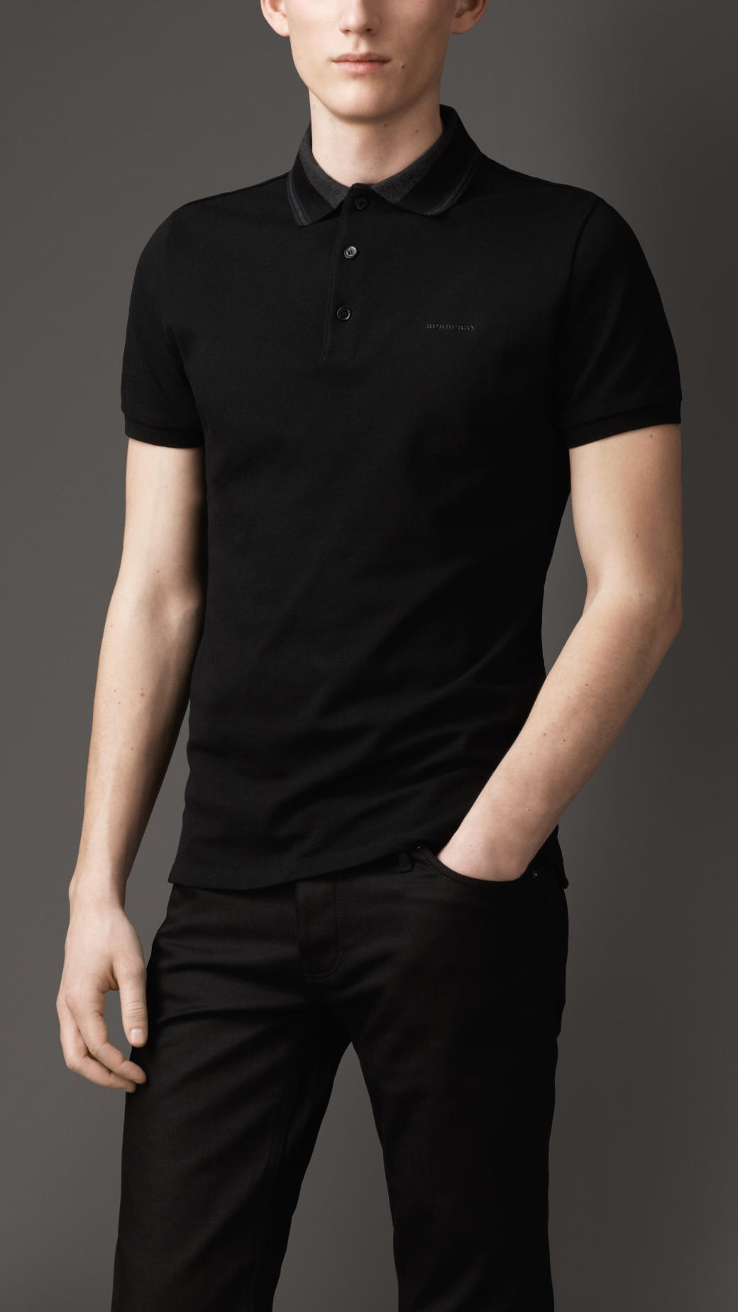 Burberry striped collar polo shirt in black for men lyst for Black polo shirt images