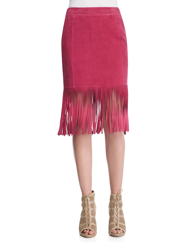 cusp fringe hem suede pencil skirt in pink cranberry lyst