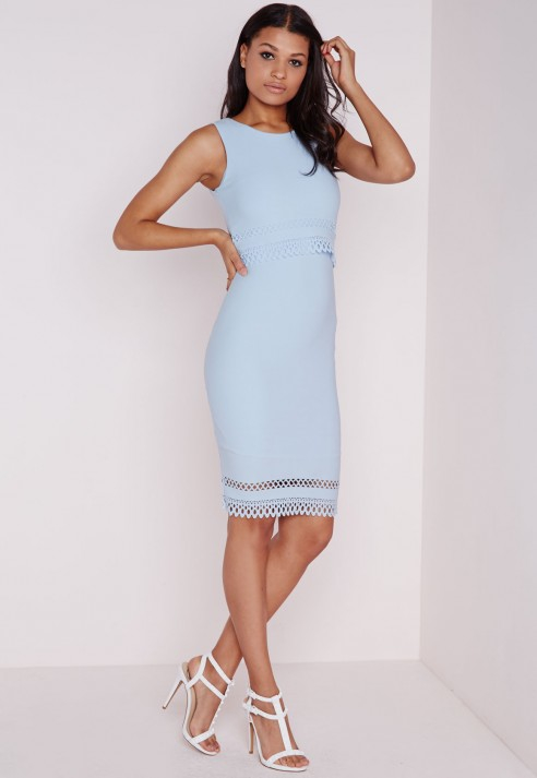 Missguided Laser Cut Midi Dress Powder Blue in Natural | Lyst