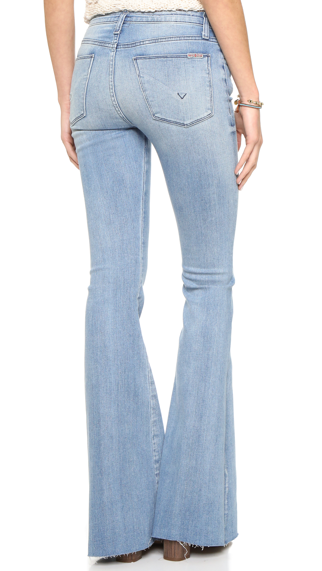 Hudson jeans Tyler Cut Off Flare Jeans in Blue | Lyst