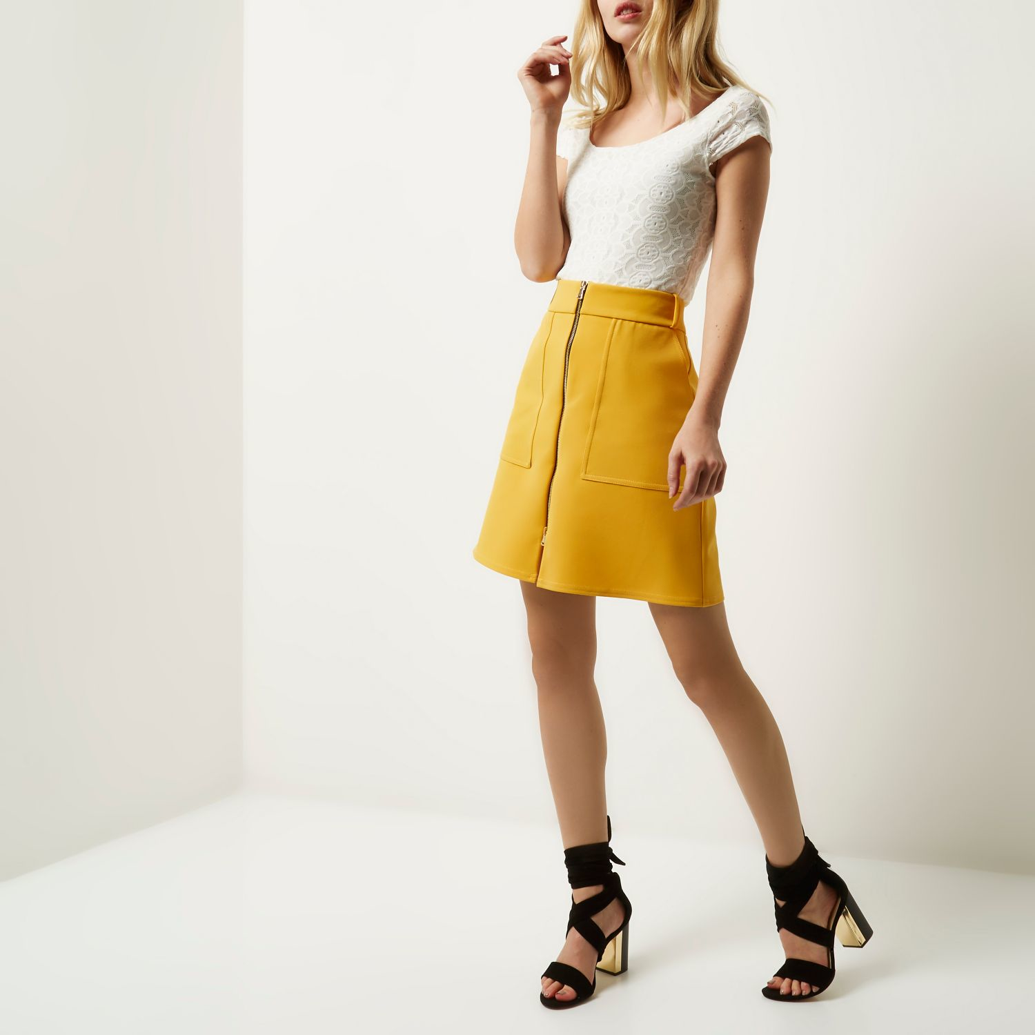 River island Yellow Zip-up A-line Skirt in Yellow | Lyst