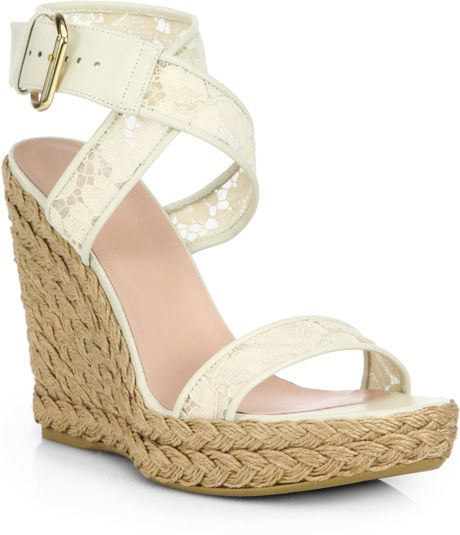 stuart weitzman giupere lace wedge espadrilles in white lyst