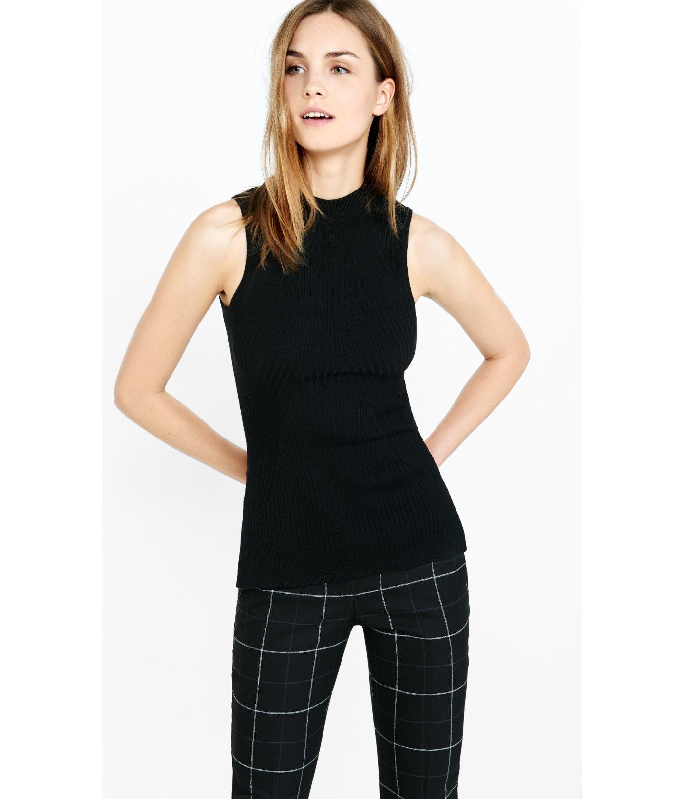 1b57be2524 Lyst - Express Sleeveless Mock Neck Engineered Rib Sweater in Black