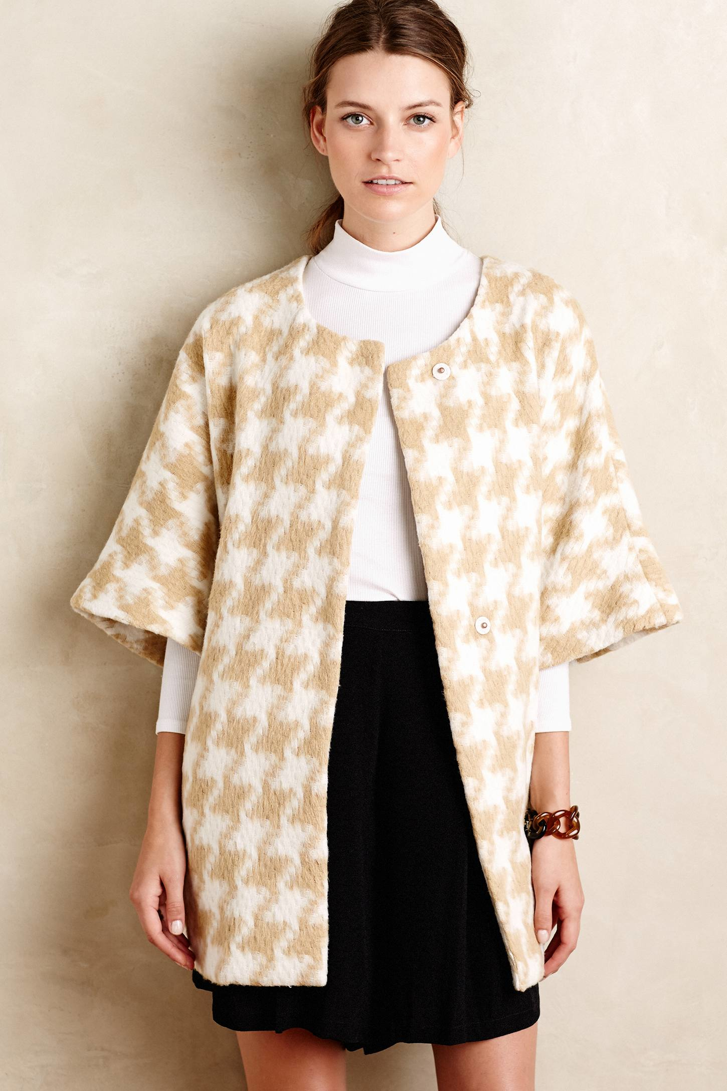 Elevenses Houndstooth Wrap Coat in Natural | Lyst