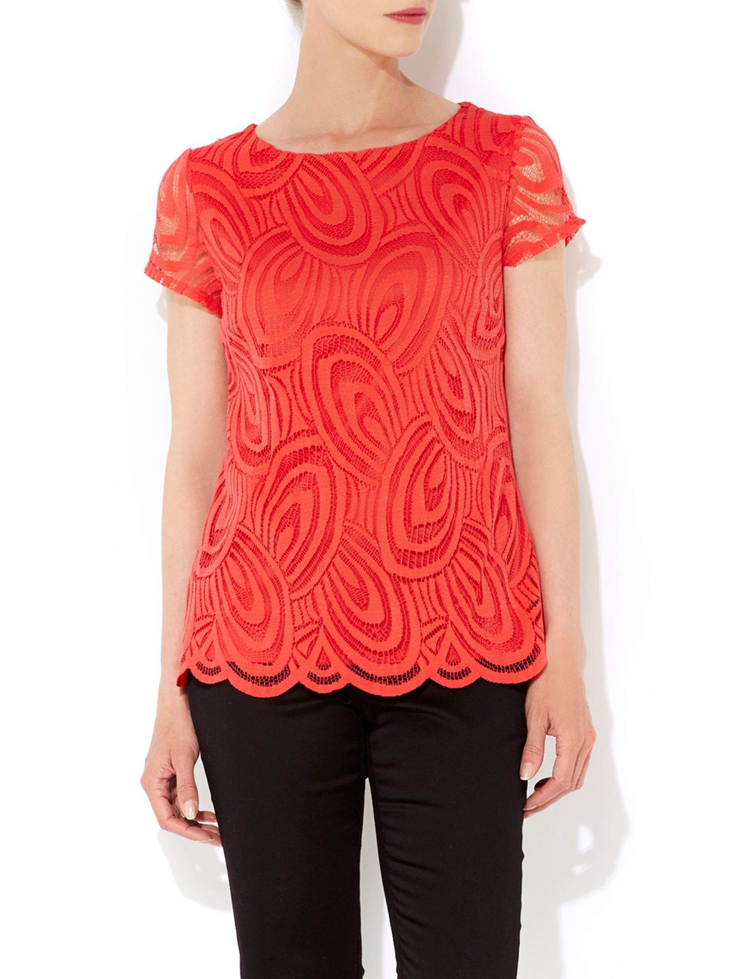 Wallis Coral Lace Top in Red | Lyst