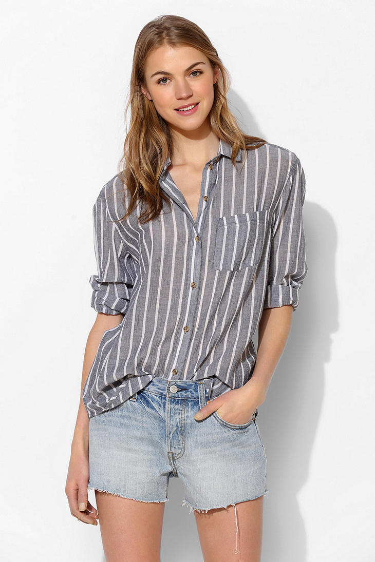 Bdg crimp gauze buttondown tunic in blue lyst for Gauze button down shirt
