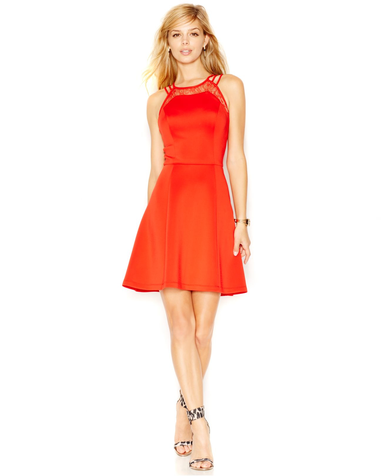 Lyst - Guess Fit & Flare Lace-inset Dress in Red