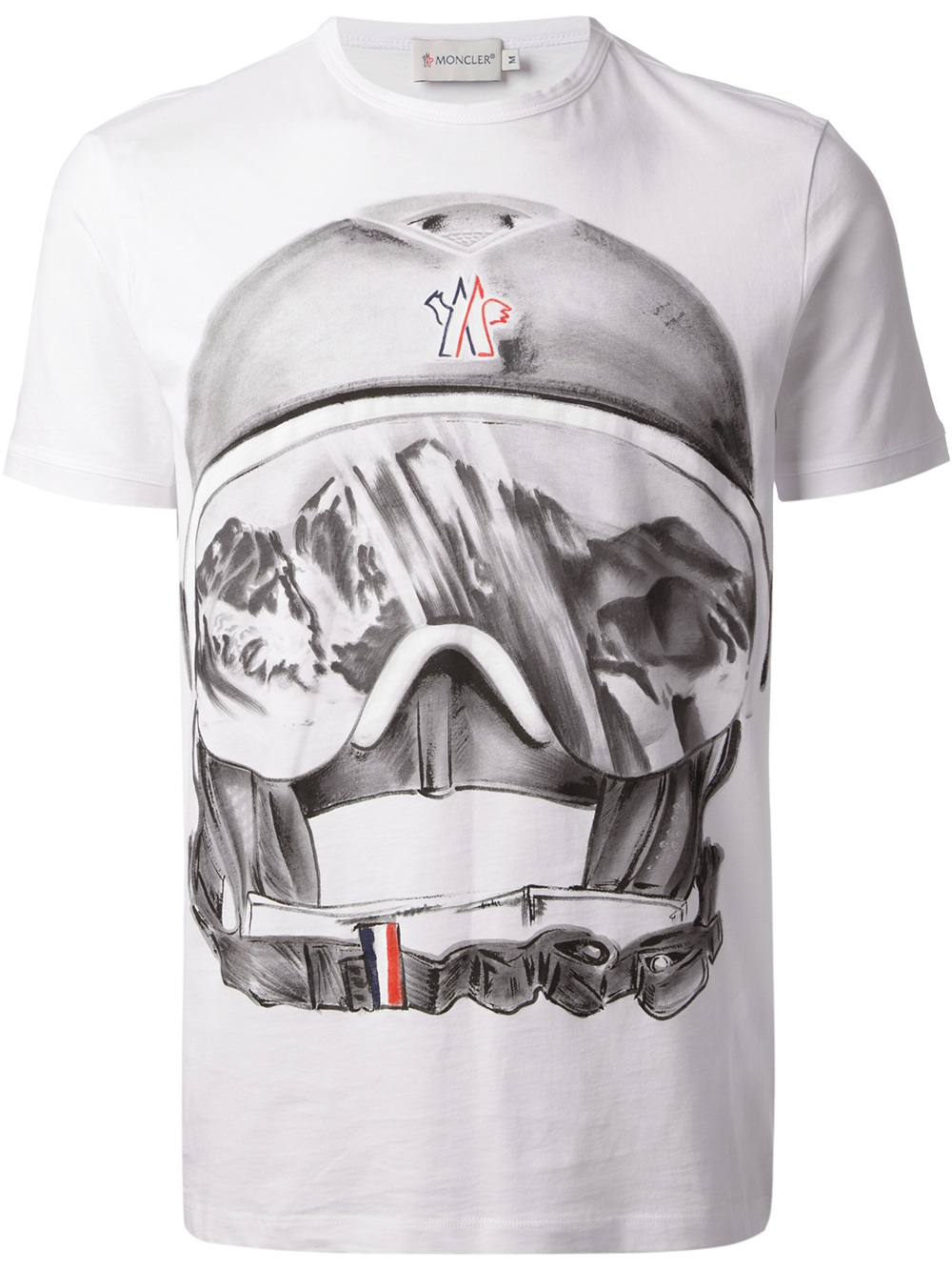 Lyst moncler ski helmet print tshirt in white for men for Print photo on shirt