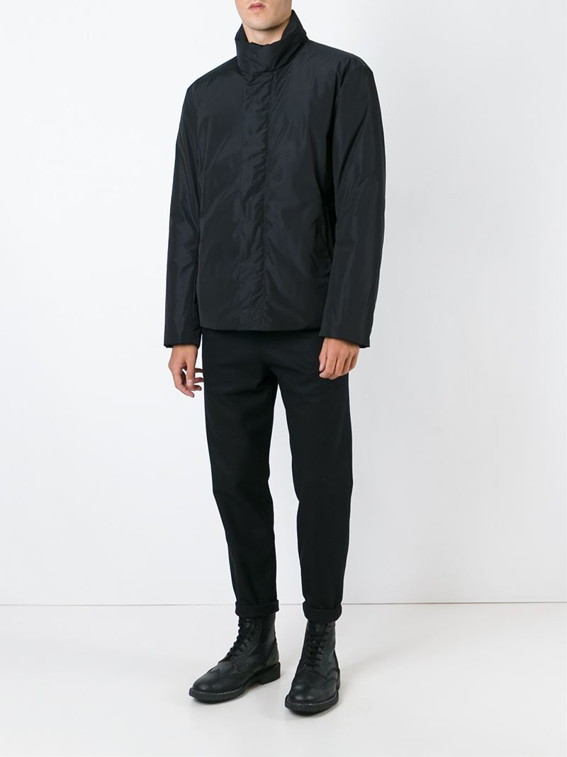 lyst jil sander zipped padded jacket in black for men. Black Bedroom Furniture Sets. Home Design Ideas