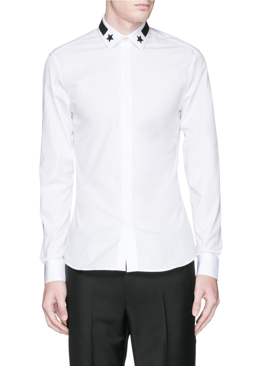 Givenchy star stripe collar cotton poplin shirt in white for Givenchy 5 star shirt