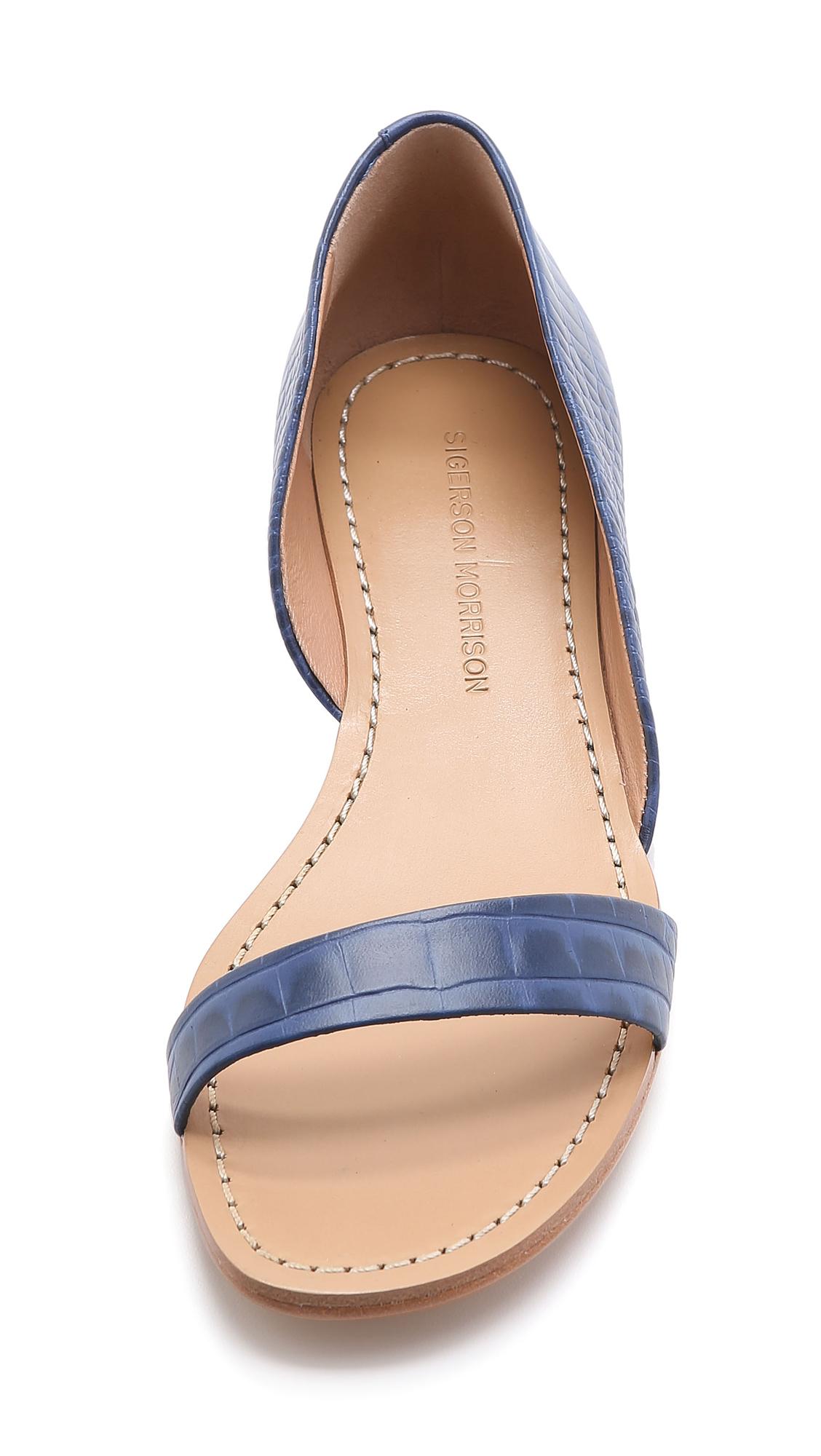 8e72288ec598 Sigerson Morrison Kameda Flat Sandals - Navy in Blue - Lyst