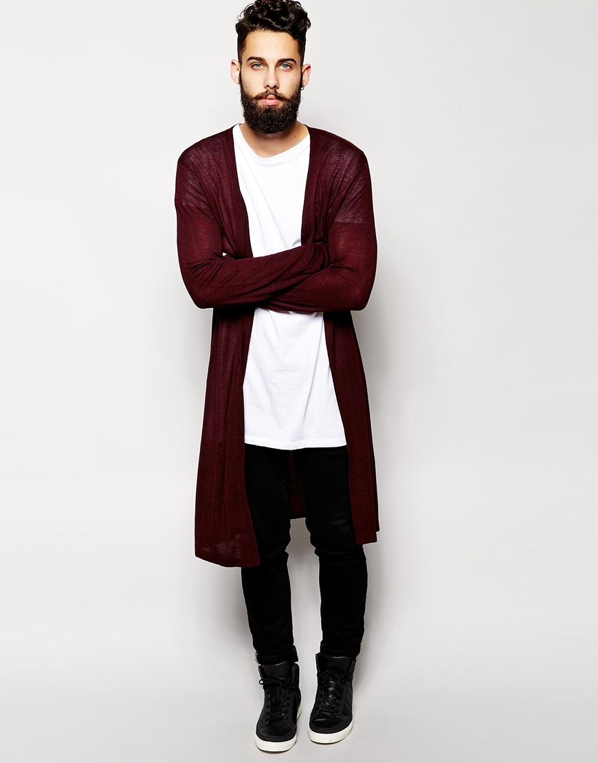 Asos Super Longline Cardigan in Purple for Men | Lyst