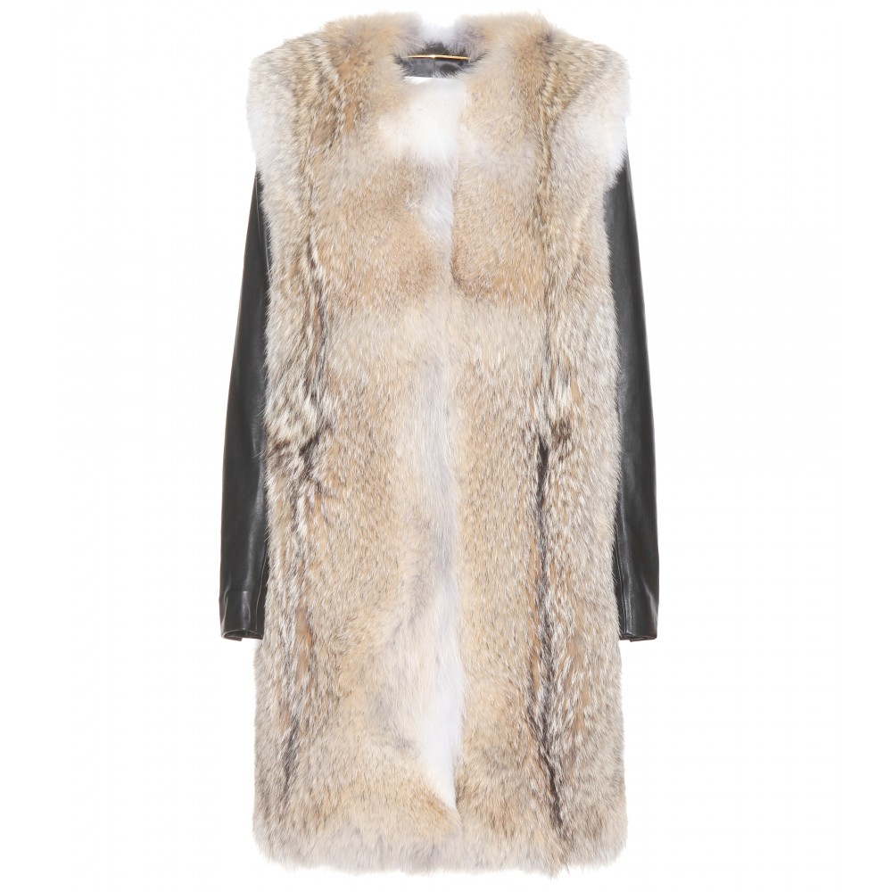 Saint laurent Fur Coat With Leather Sleeves in Black | Lyst